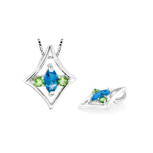 Multicut London Blue Topaz Peridot Three Stone Pendant in Sterling Silver