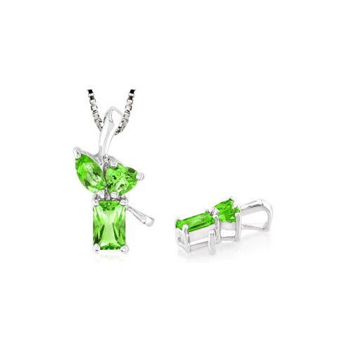 Multicut Peridot Three Stone Pendant in Sterling Silver