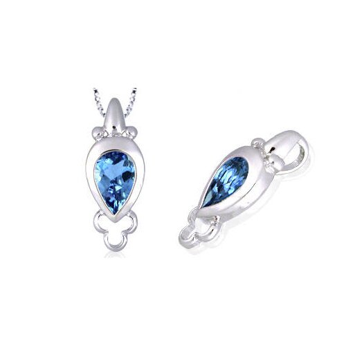 Cultured Pearl Cut London Blue Topaz Pendant in Sterling Silver