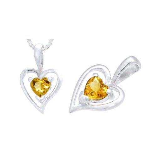 Heart Shape Citrine Heart Pendant in Sterling Silver