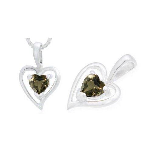 Heart Shaped Smoky Quartz Heart Pendant in Sterling Silver