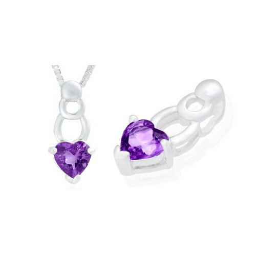 Oravo Heart Cut Amethyst Pendant in Sterling Silver
