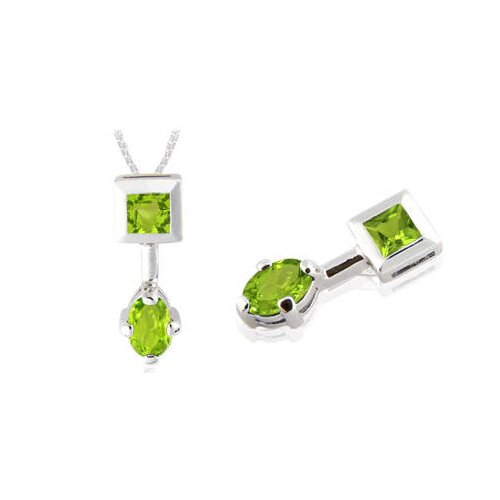 Princess & Oval Cut Peridot Pendant in Sterling Silver