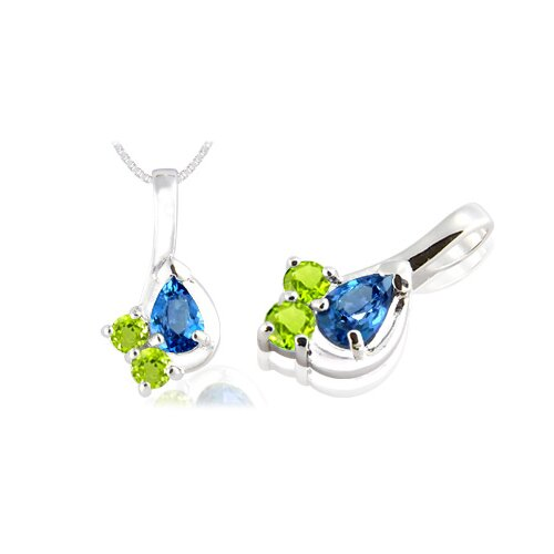 Pear & Round Cut London Blue Topaz Peridot Three-Stone Pendant in Sterling Silver