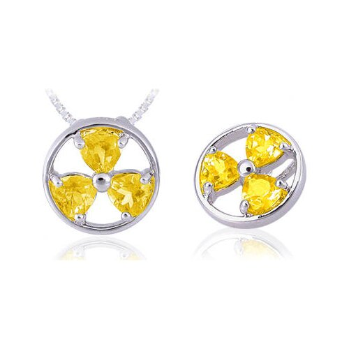 Oravo Heart Cut Citrine Three-Stone Pendant in Sterling Silver