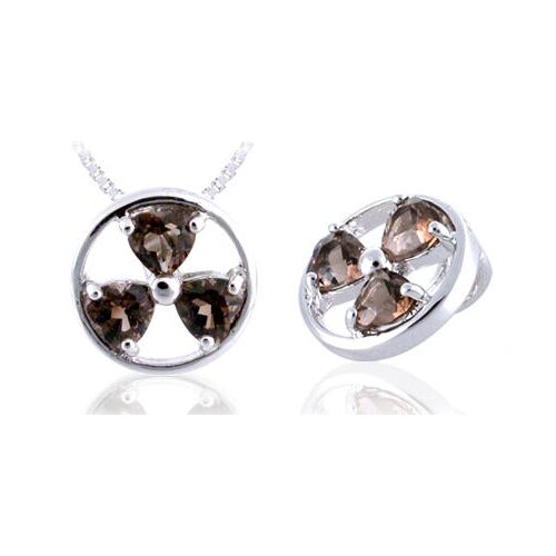 Heart Cut Smoky Quartz Three-Stone Pendant in Sterling Silver