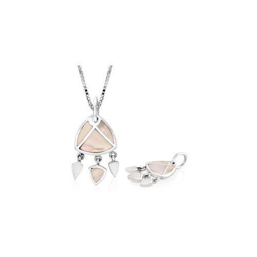 White Mother of Pearl Chandelier Pendant in Sterling Silver