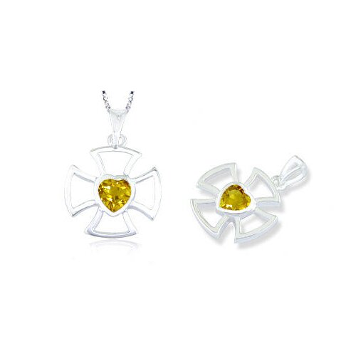 Oravo Heart Cut Citrine Cross Pendant in Sterling Silver