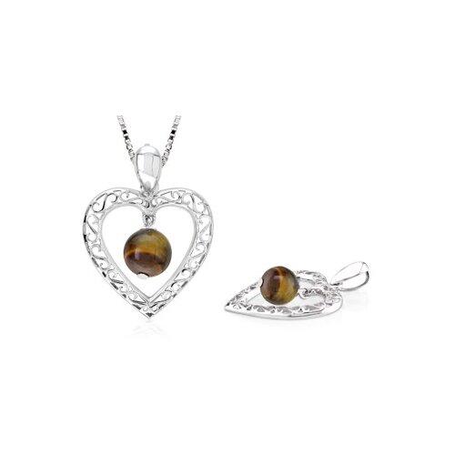 Round Tigereye Bead Filigree Heart Pendant in Sterling Silver