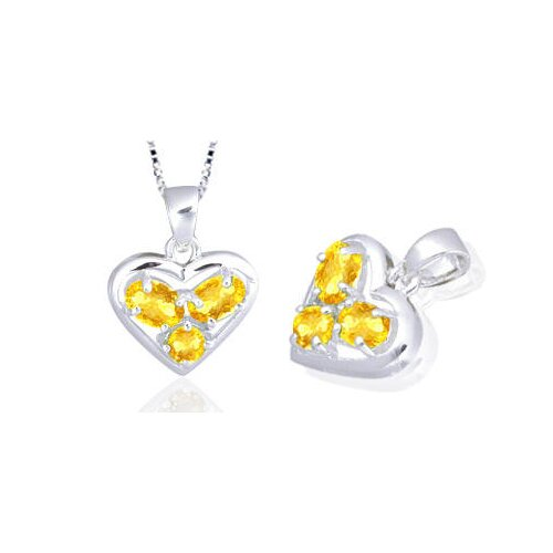 Oval Round Cut Citrine Three-Stone Heart Pendant in Sterling Silver