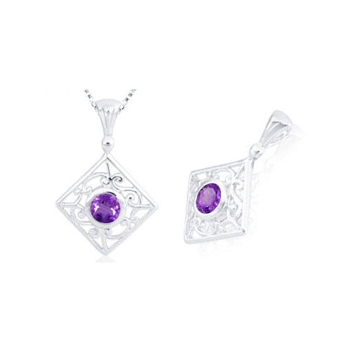 Round Cut Amethyst Filigree Pendant in Sterling Silver