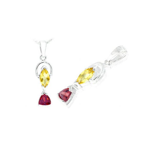 Marquise Trillion Cut Citrine Garnet Pendant in Sterling Silver