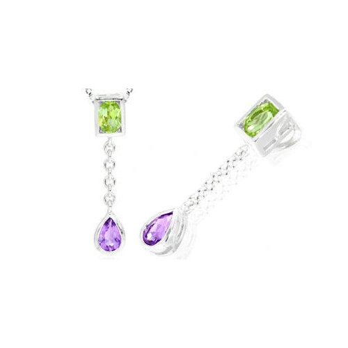 Oval Pear Cut Peridot Amethyst Pendant in Sterling Silver