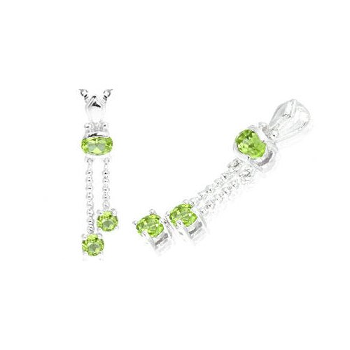 Oval & Round Cut Peridot Pendant in Sterling Silver