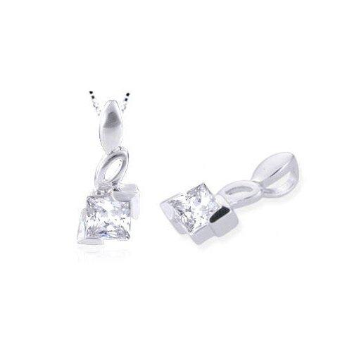 Princess Cut White Cz Pendant in Sterling Silver