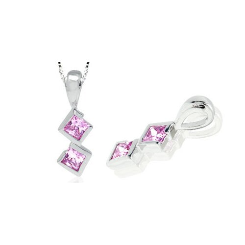Princess Cut Pink CZ Pendant in Sterling Silver
