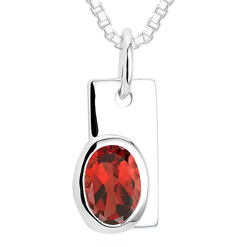 Oval Cut Garnet Pendant Necklace in Sterling Silver