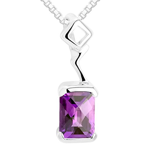 Oravo Radiant Cut Amethyst Pendant Necklace in Sterling Silver
