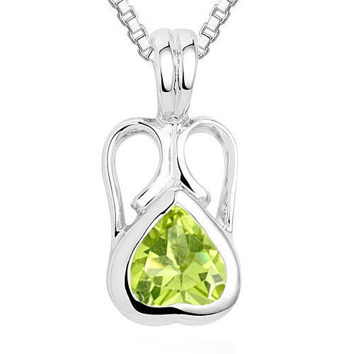 Heart Cut Peridot Pendant Necklace in Sterling Silver