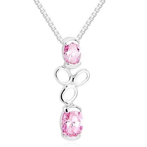 Oravo Oval Cut Pink CZ Pendant Necklace in Sterling Silver