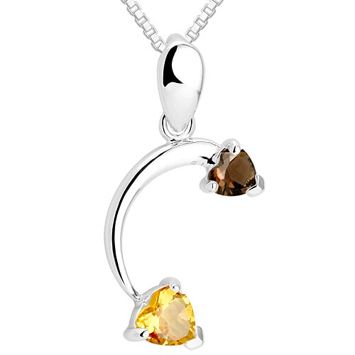 Heart Cut Smoky Quartz & Citrine Pendant Necklace in Sterling Silver