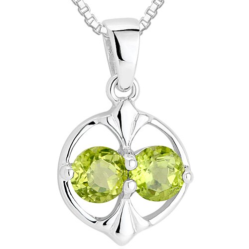 Oravo Round Cut Peridot Pendant Necklace  in Sterling Silver