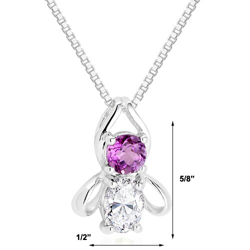 Oravo Round Amethyst & Oval White CZ Pendant Necklace in Sterling Silver