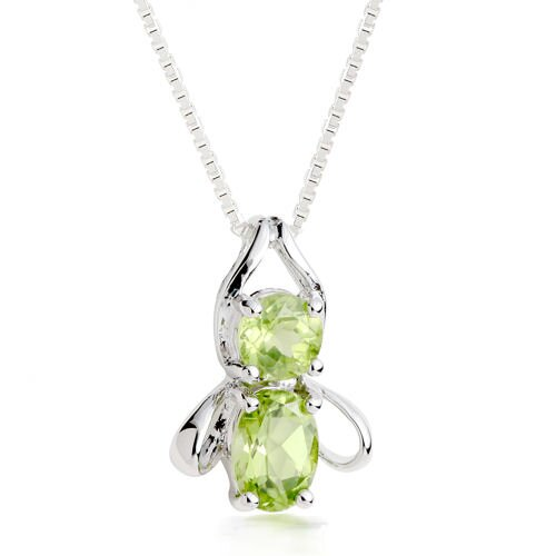 Oravo Round & Oval Cut Peridot Pendant Necklace in Sterling Silver