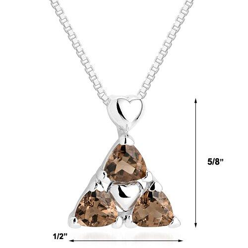 Oravo Trillion Cut Smoky Quartz Three Stone Pendant Necklace in Sterling Silver