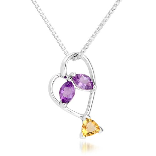 Oravo Marquise Amethyst Trillion Citrine Three Stone Pendant Necklace in Sterling Silver