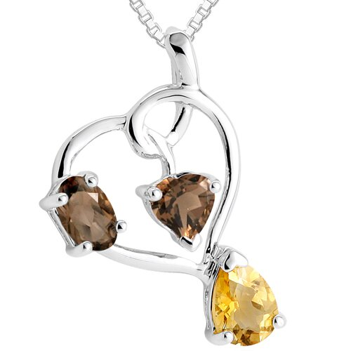 Multicut Smoky Quartz & Citrine Three Stone Pendant Necklace in Sterling Silver