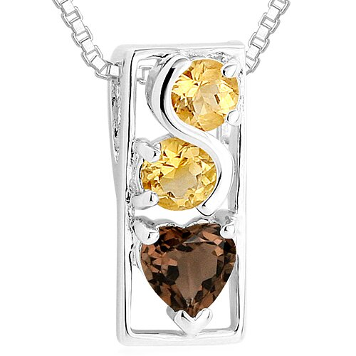 Round Citrine Heart Smoky Quartz Pendant Necklace in Sterling Silver