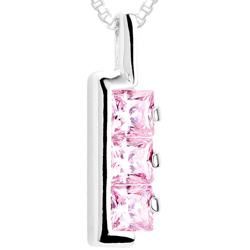 Princess Cut Pink CZ Three-Stone Pendant Necklace in Sterling Silver