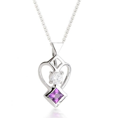 Oravo Princess Amethyst & Round White CZ Pendant Necklace in Sterling Silver
