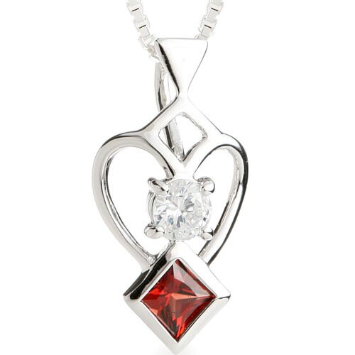 Oravo Princess Garnet Round Cut White CZ Pendant Necklace in Sterling Silver