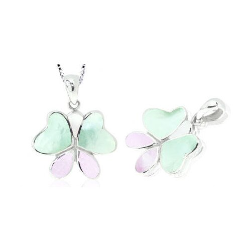 Purple & Green Mother of Pearl Butterfly Pendant in Sterling Silver