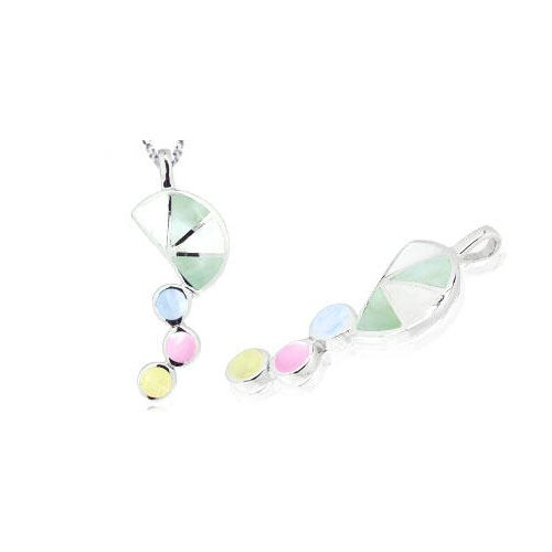 Multicolor Mother of Pearl Pendant in Sterling Silver