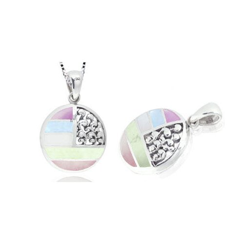 Multicolor Mother of Pearl Full Moon Pendant in Sterling Silver