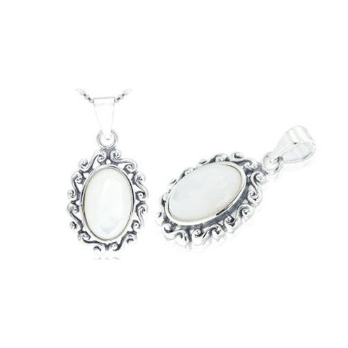 Oval White Mother of Pearl S-Link Pendant in Sterling Silver