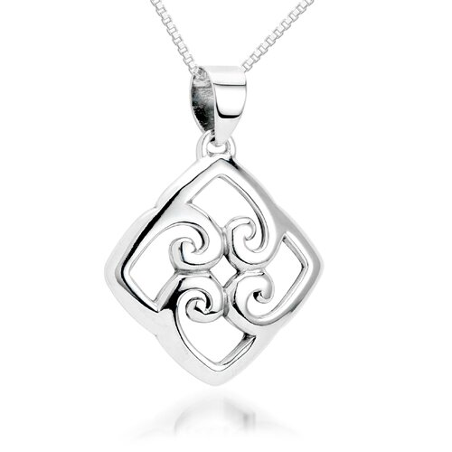 Oravo Knotted Hearts Pendant Necklace in Sterling Silver