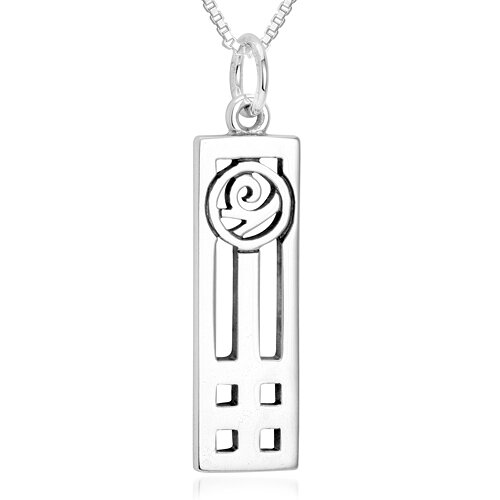 Oravo Rose in a Frame Pendant Necklace in Sterling Silver