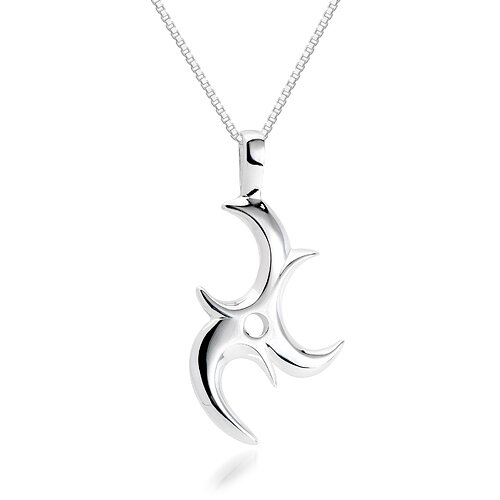 Oravo Unique Tri-C Pendant Necklace in Sterling Silver