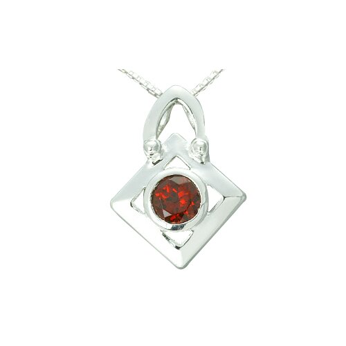 1.00 Carat Round Genuine Garnet Pendant Necklace in Sterling Silver