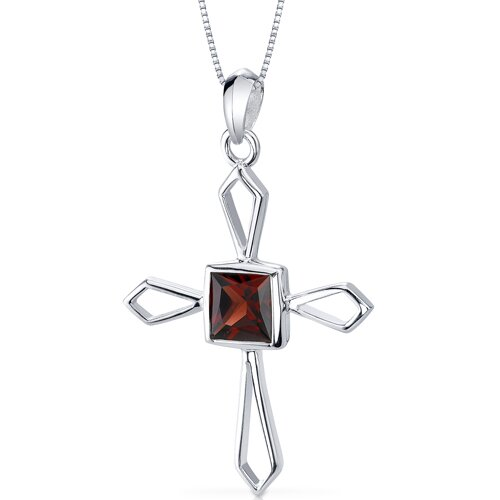1.25 Carats Genuine Princess Cut Garnet Cross Pendant Necklace in Sterling Silver