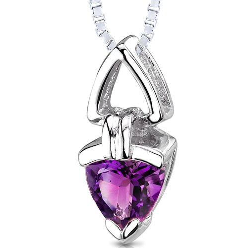 1.00 Carat Trillion Cut Genuine Amethyst Pendant Necklace in Sterling Silver