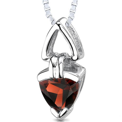 1.50 Carats Trillion Cut Genuine Garnet Pendant Necklace in Sterling Silver
