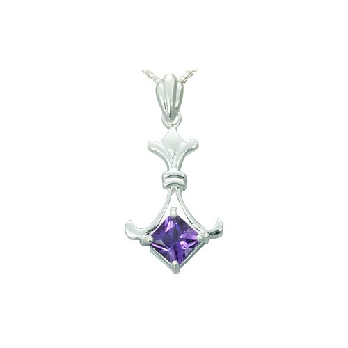 1.00 Carat Princess Cut Genuine Amethyst Pendant Necklace in Sterling Silver