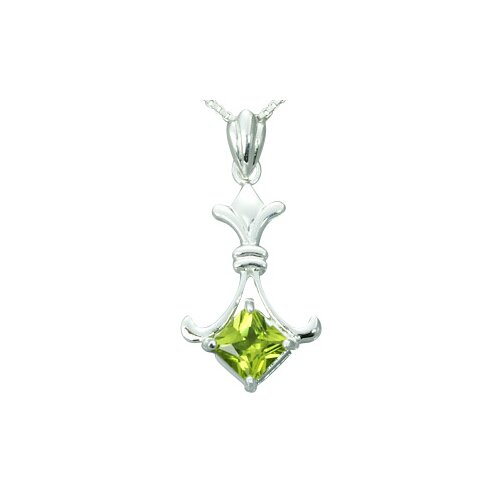 Oravo 1.00 Carat Princess Cut Genuine Peridot Pendant Necklace in Sterling Silver