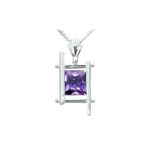 1.50 Carats Princess Cut Genuine Amethyst Pendant Necklace in Sterling Silver