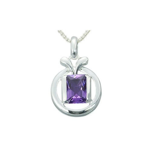 1.25 Carats Genuine Radiant Cut Amethyst Pendant Necklace in Sterling Silver